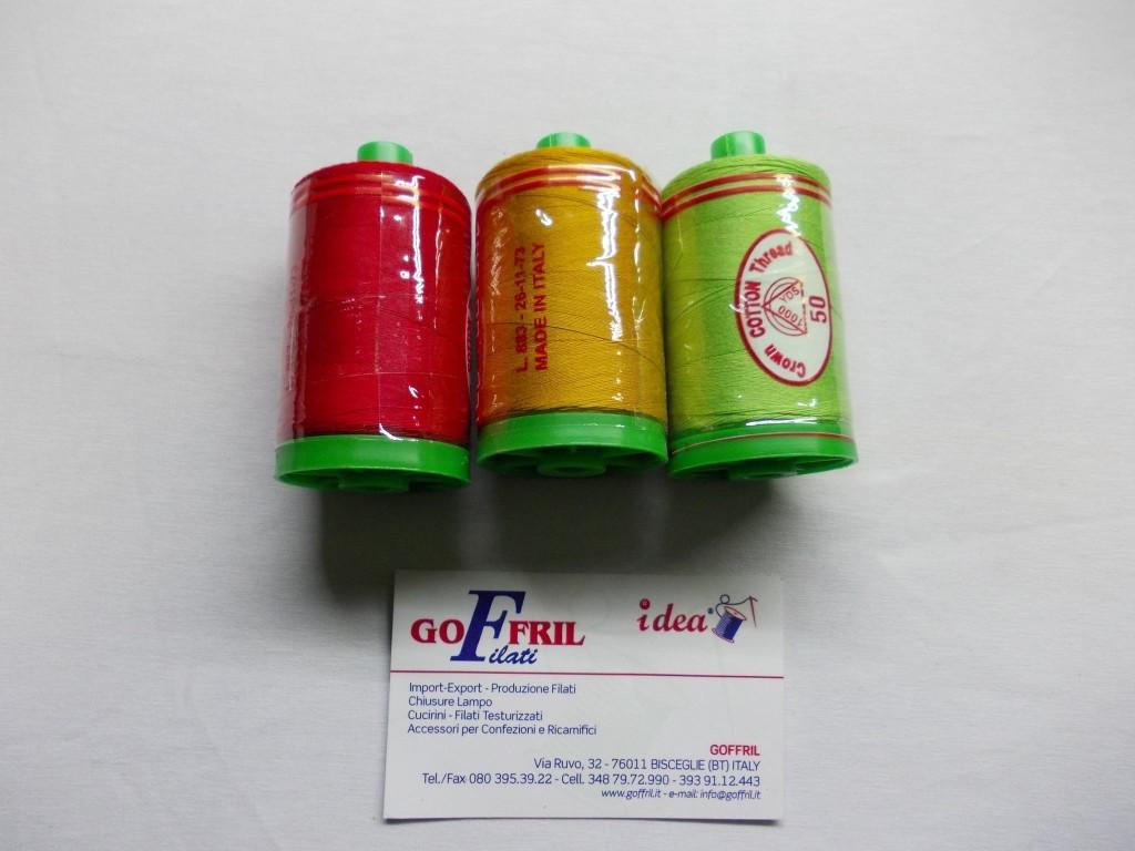 spole 1000 yds colorate cotone